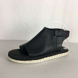 Free People Black Leather Espadrille Sandal 39 9